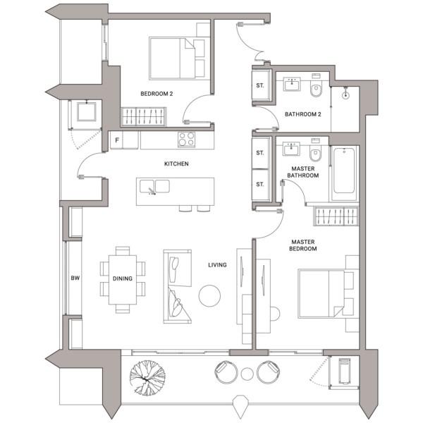 Urbanland - Embassy Central - Phnom Penh Luxury Condominium - B1 Unit floor plan