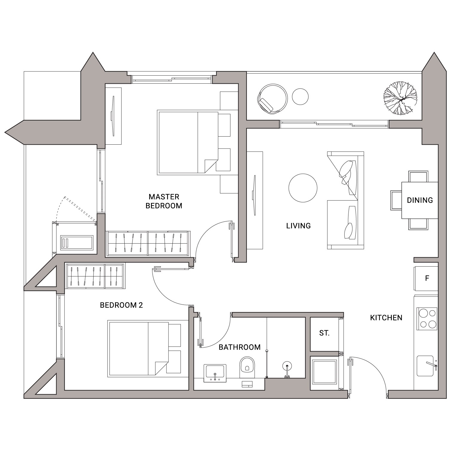 Urbanland - Embassy Central - Phnom Penh Luxury Condominium - B2 Unit floor plan